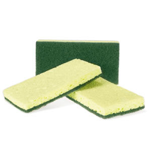 Sponge with Green Scrubber 6 / Pack