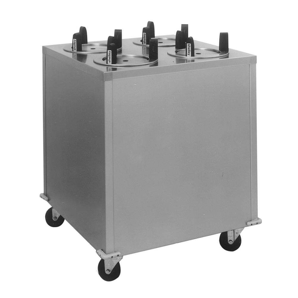"Delfield CAB4-725ET Even Temp Mobile Enclosed Four Stack Heated Dish Dispenser / Warmer for 6 1/2"" to 7 1/4"" Dishes - 208V"