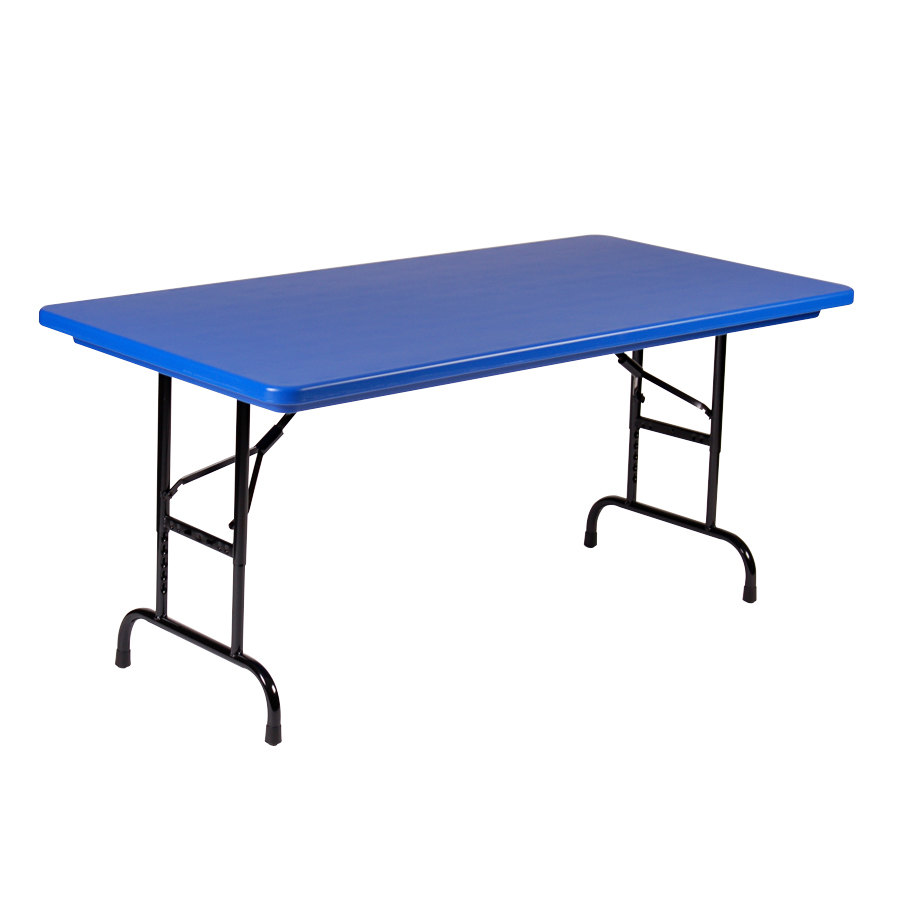 "Correll R-Series R3060 30"" x 60"" Blue Plastic Folding Table"