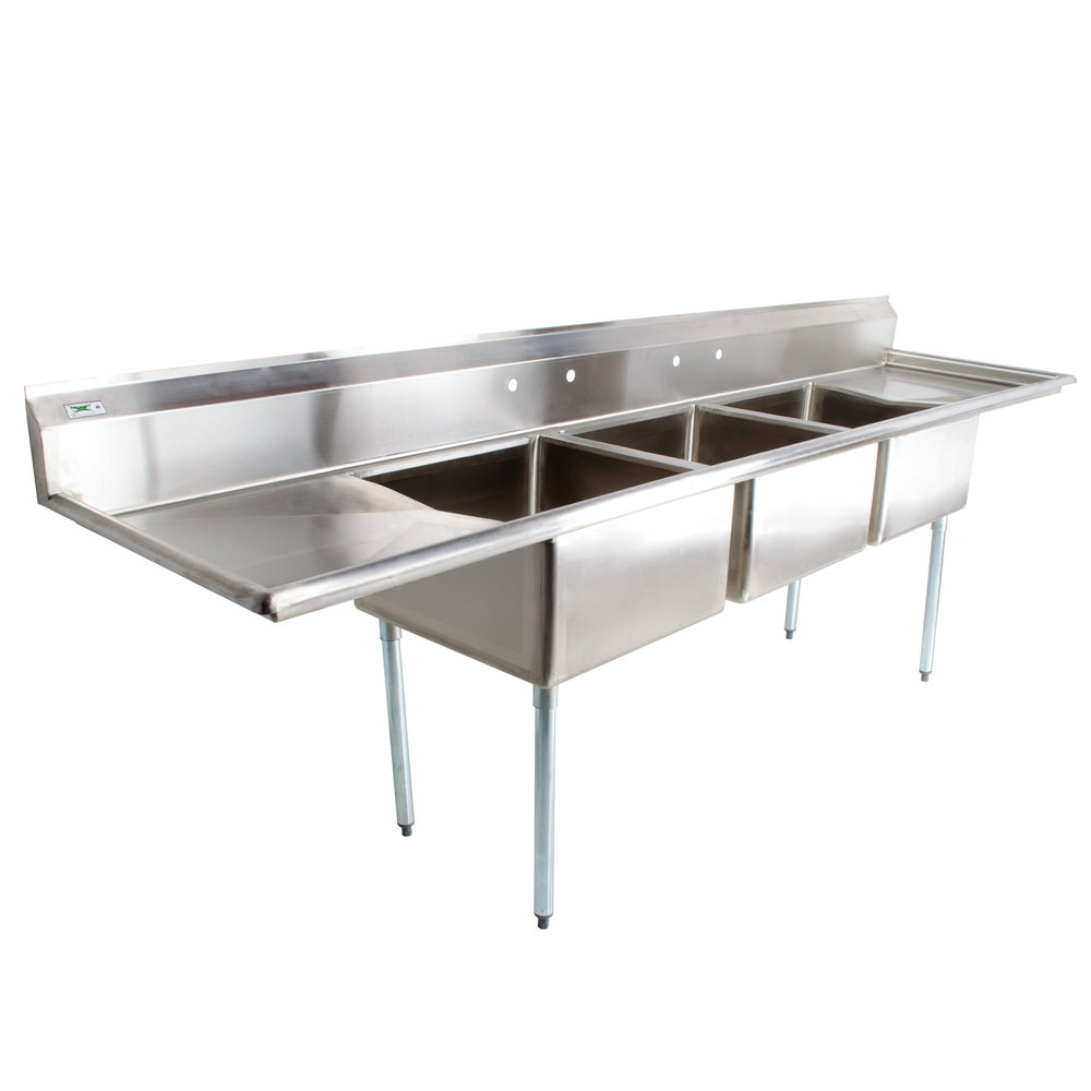 regency 121 16 gauge stainless steel three compartment commercial sink with 2 drainboards - Three Compartment Kitchen Sink
