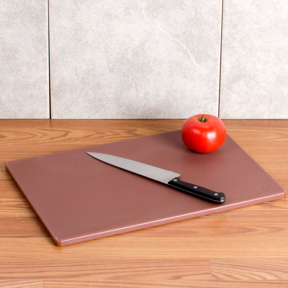 "12"" x 18"" x 1/2"" Brown Cutting Board"