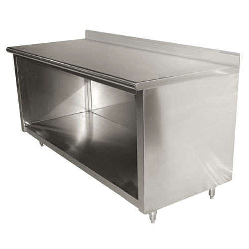 "Advance Tabco EK-SS-366 36"" x 72"" 14 Gauge Open Front Cabinet Base Work Table with 5"" Backsplash"
