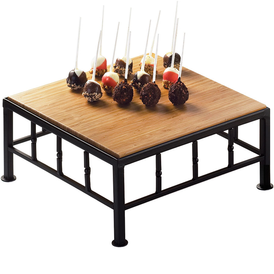 "Cal-Mil 1711-5-60 Iron Black Square Riser with Bamboo Top - 12"" x 5"""
