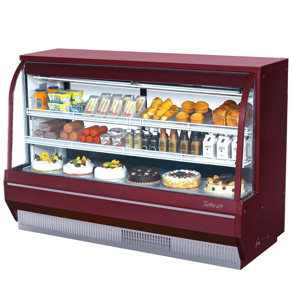 "Turbo Air TCDD-72-2-H Red 72"" Curved Glass Refrigerated Deli Case - 21.4 Cu. Ft."