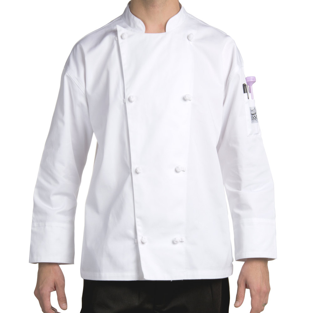 Chef Revival J003-M Knife and Steel Size 42 (M) White Customizable Long Sleeve Chef Jacket - Poly-Cotton Blend