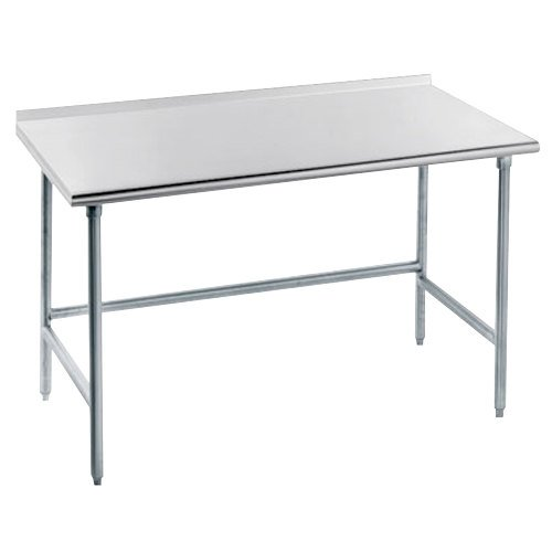 "Advance Tabco TFLG-304 30"" x 48"" 14 Gauge Open Base Stainless Steel Commercial Work Table with 1 1/2"" Backsplash"