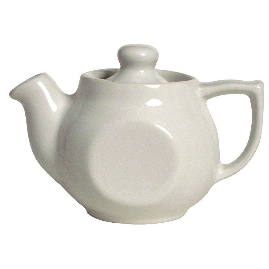 Cac tpw ceramic oz white tea pot with lid