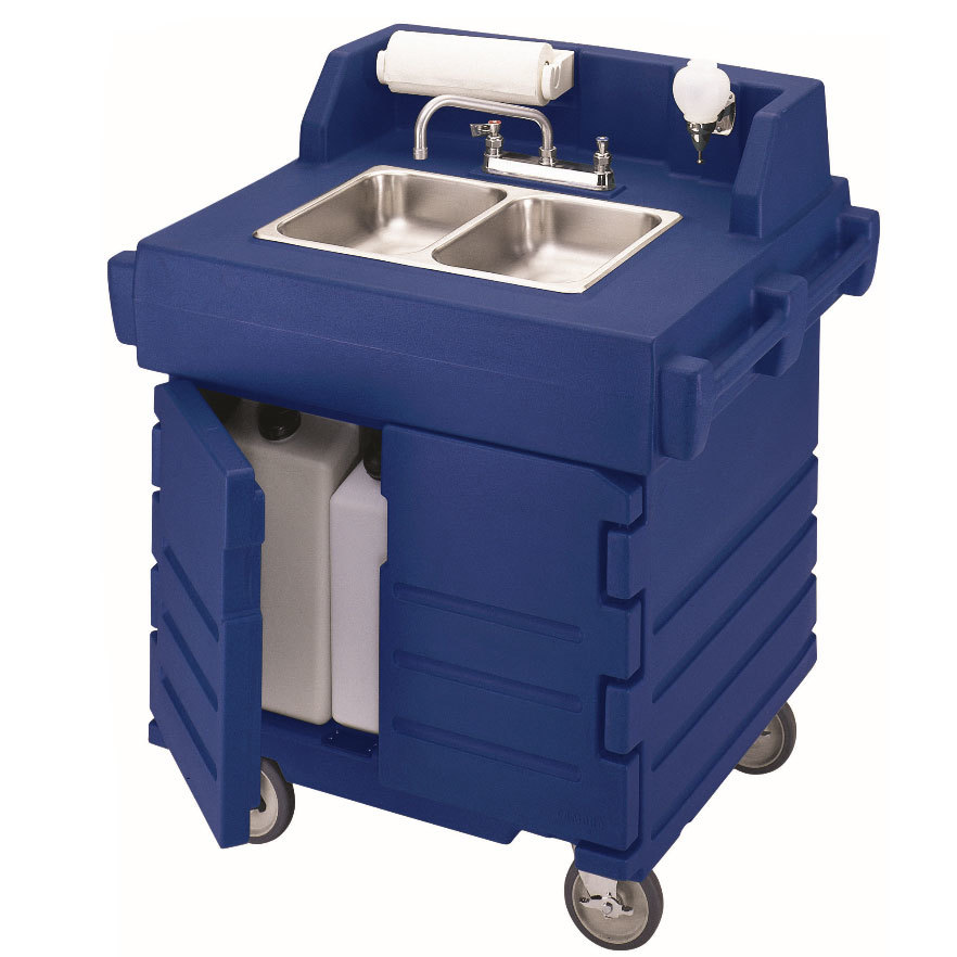 Cambro KSC402186 Navy Blue CamKiosk Portable Self-Contained Hand Sink Cart 110V