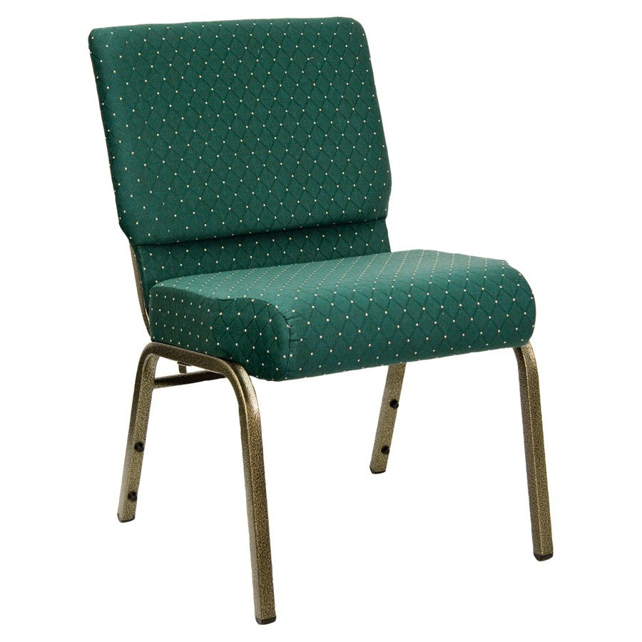 "Hunter Green Dot Patterned 21"" Extra Wide Church Chair with Gold Vein Frame"