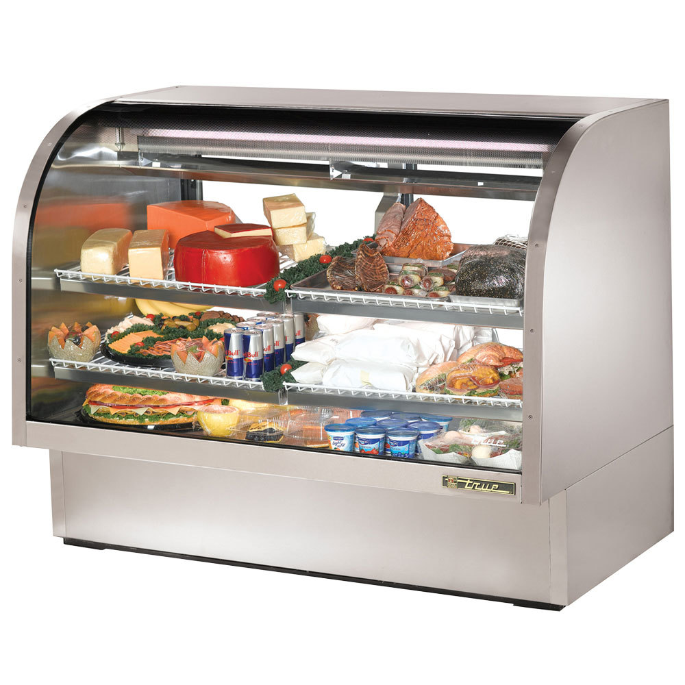 "True TCGG-60-S-LD 60"" Stainless Steel Curved Glass Refrigerated Deli Case - 30 Cu. Ft."