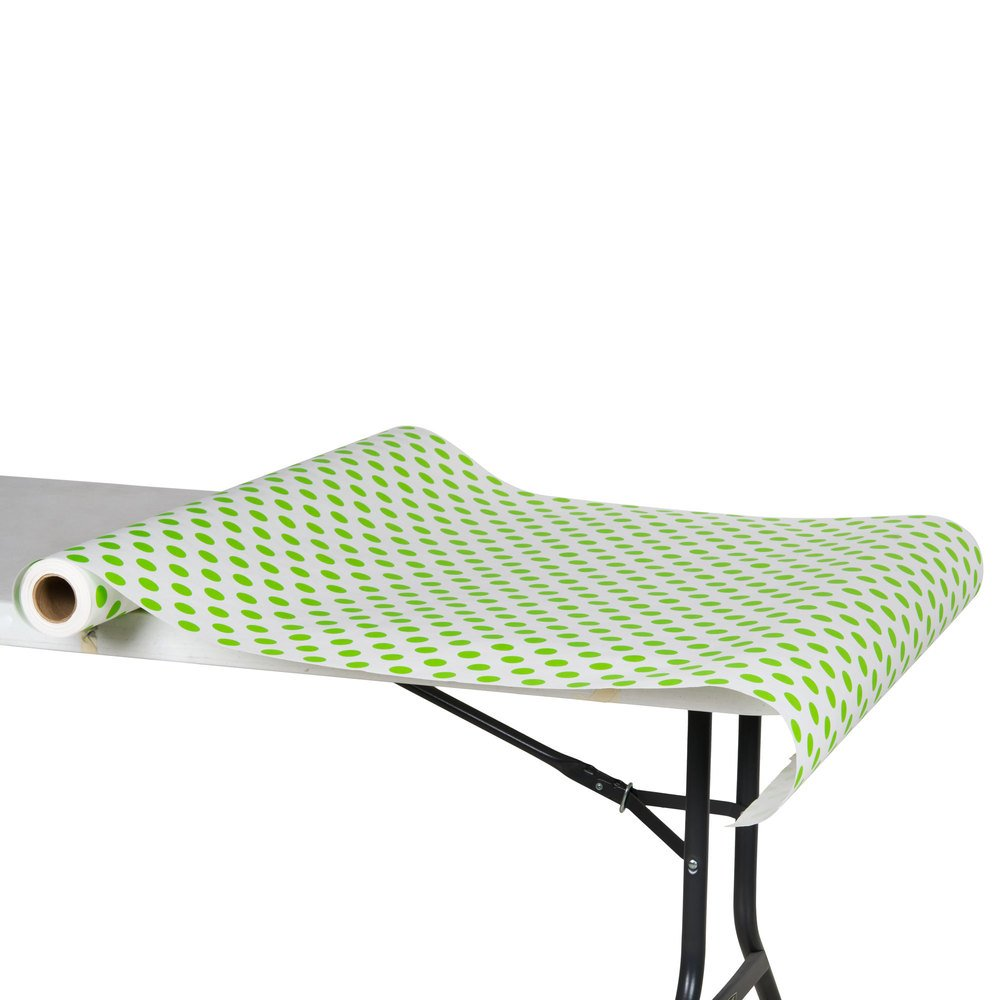 "40"" x 100' Paper Table Cover with Green Polka Dots"