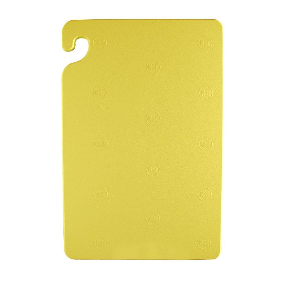 San Jamar CB182412YE Yellow 18 inch x 24 inch x 1/2 inch Cut-N-Carry Cutting Board with Hook
