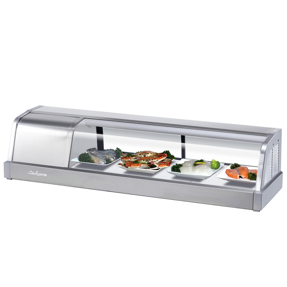 "Turbo Air Sakura-50 50"" Stainless Steel Curved Glass Refrigerated Sushi Case - 1.3 Cu. Ft."
