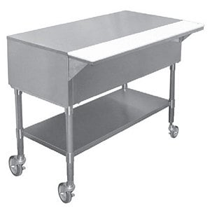 "APW PWT-4S 22 1/2"" x 63 1/2"" Mobile Stainless Steel Work-Top Counter with Cutting Board and Stainless Steel Undershelf"