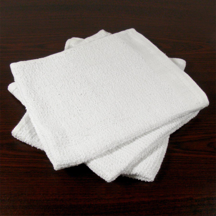 16 inch x 19 inch Ribbed Terry Bar Towel 24 oz. 12 / Pack