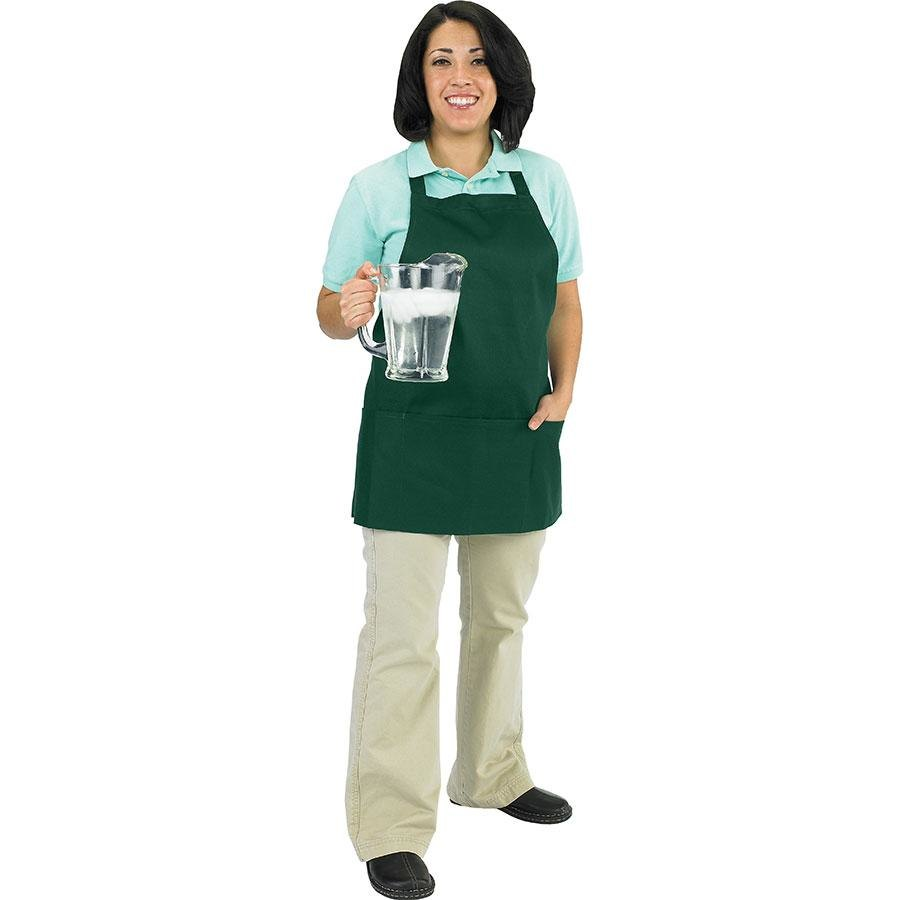 "Chef Revival 602BAFH-HG Customizable Professional Front of the House Hunter Green Bib Apron - 28""L x 25""W"
