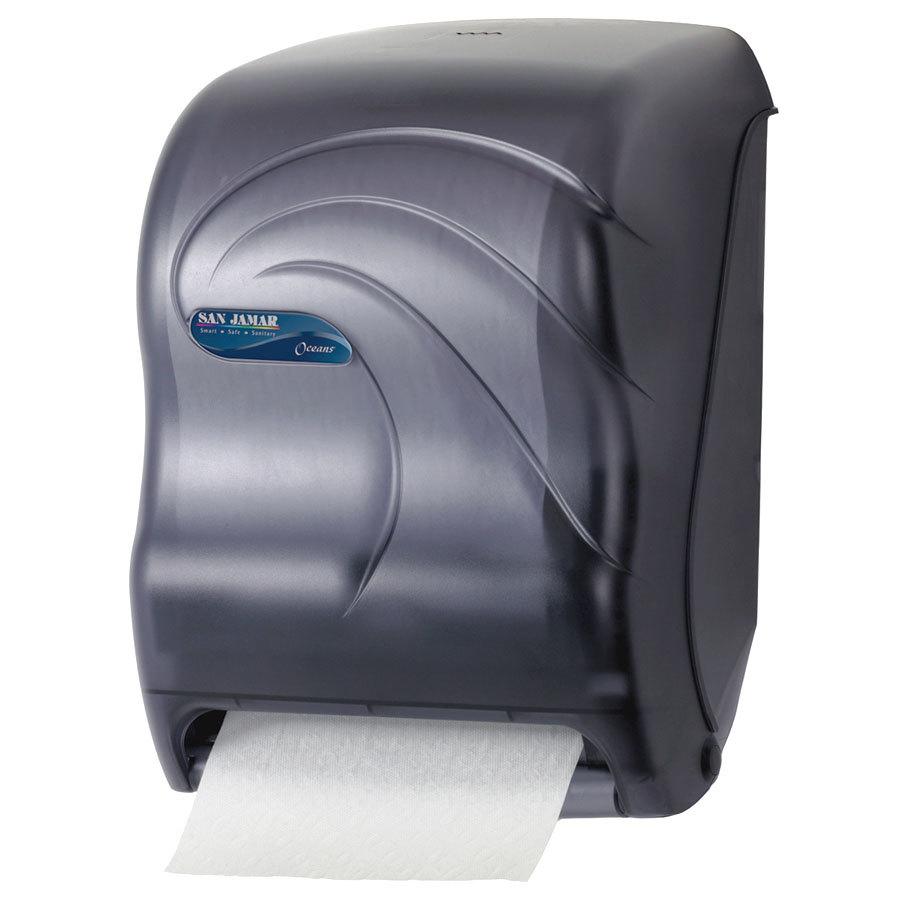 San Jamar T1390TBK Tear N Dry Black Hands Free Paper Roll Towel Dispenser