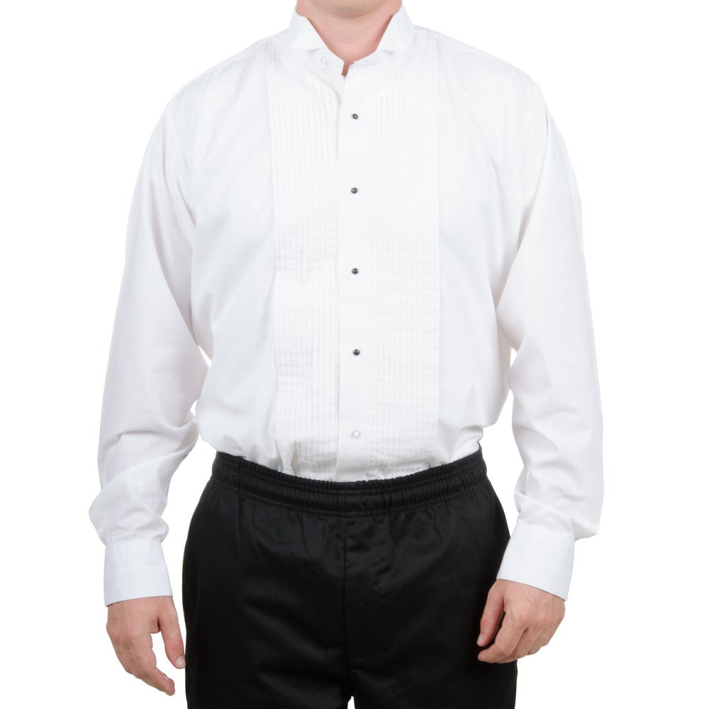 Collar styles of men's tuxedo shirts. One way to begin your search for the best-fitting tuxedo shirt is to find the collar style that appeals to you. There are three basic styles to wear with the classic tux, including the wing collar, laydown collar, and banded collar.
