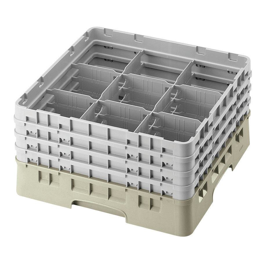 "Cambro 9S434184 Beige Camrack 9 Compartment 5 1/4"" Glass Rack"