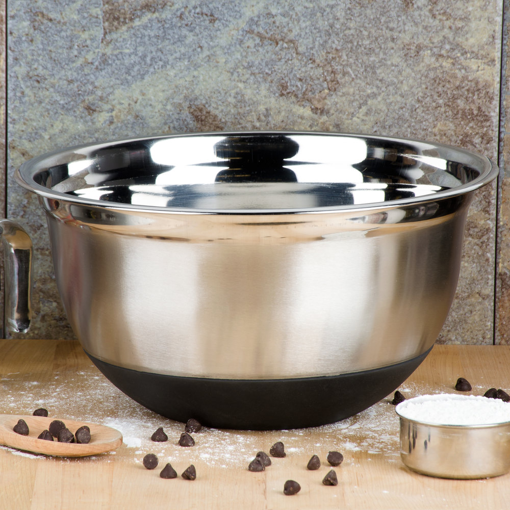 8 Qt. Heavyweight Stainless Steel Mixing Bowl With Bottom Grip/Non-Slip Base