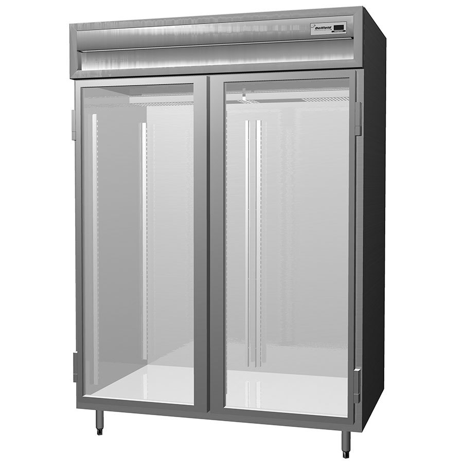 Delfield SSR2-G Stainless Steel 52 Cu. Ft. Two Section Glass Door Reach In Refrigerator - Specification Line