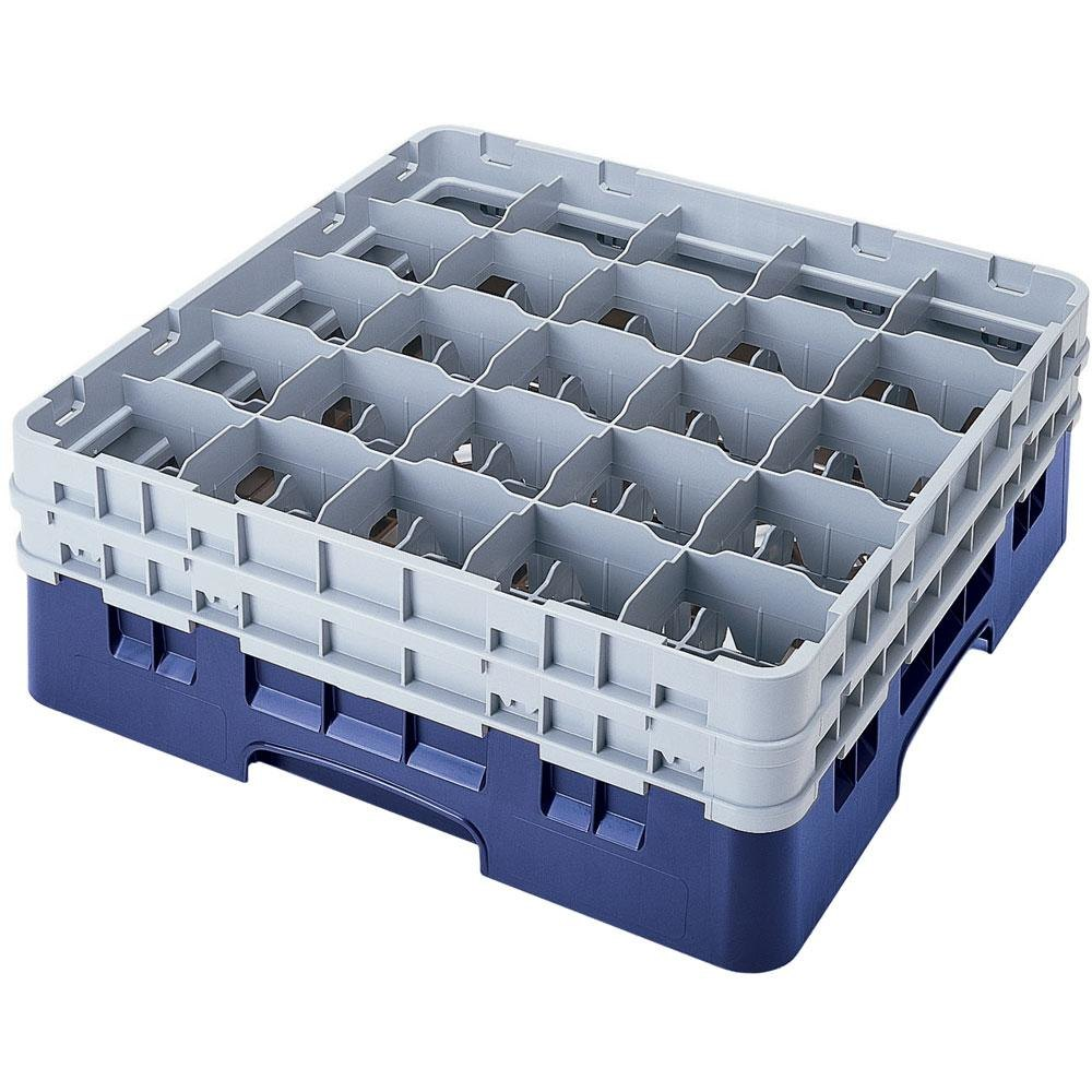 "Cambro 25S318168 Camrack 3 5/8"" High Blue 25 Compartment Glass Rack"