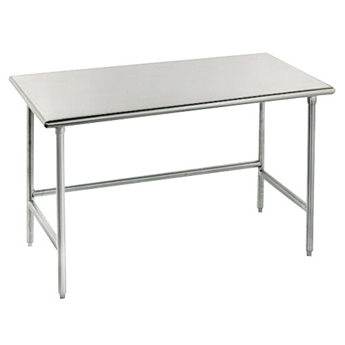 "Advance Tabco TGLG-487 48"" x 84"" 14 Gauge Open Base Stainless Steel Commercial Work Table"