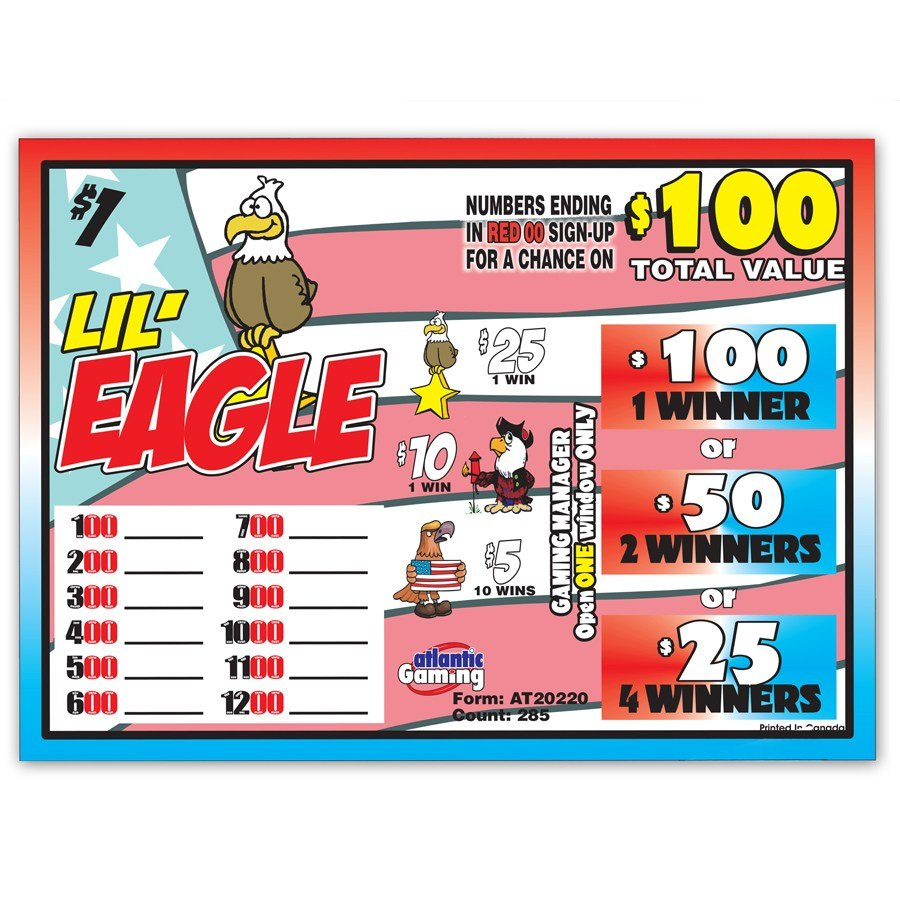 """Lil' Eagle"" 1 Window Pull Tab Tickets - 288 Tickets Per Deal - Total Payout: $185 at Sears.com"