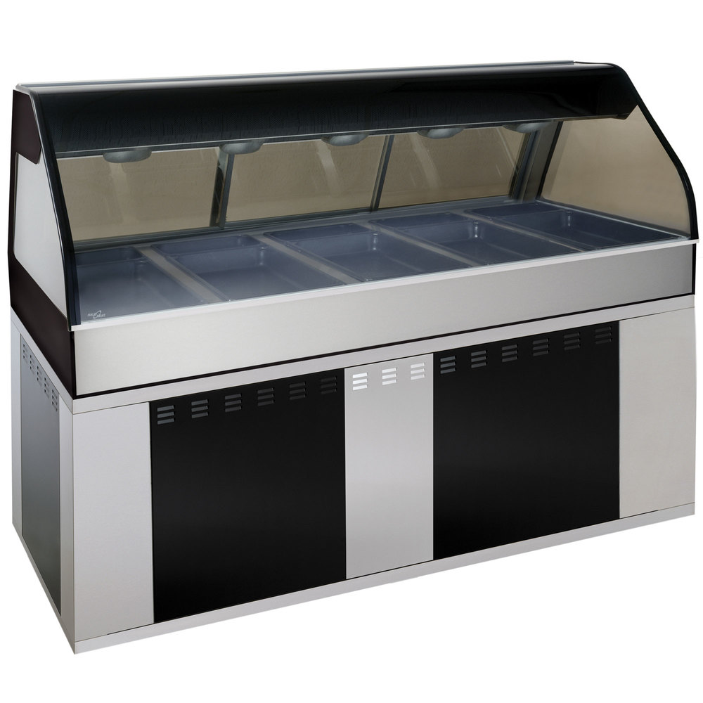 Alto-Shaam EU2SYS-72/PR SS Stainless Steel Cook / Hold / Display Case with Curved Glass and Base - Right Self Service, 72""