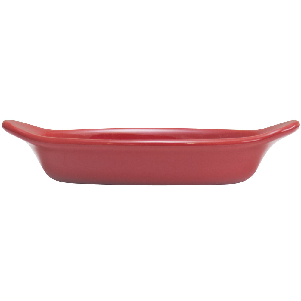 Hall China 30527326 Scarlet 8 oz. Colorations Oval Rarebit / Au Gratin Dish - 24/Case