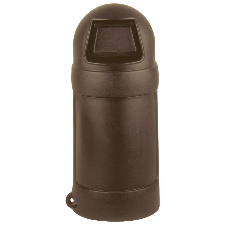 Continental 1305BN 18 Gallon Brown Round Top Waste Receptacle - No Liner