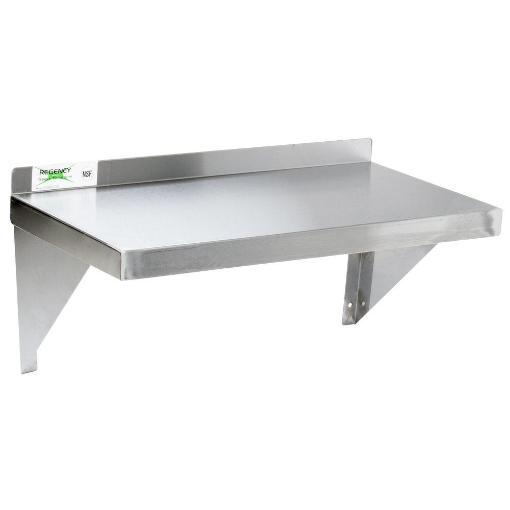 Regency 16 Gauge Stainless Steel 12 X 24 Heavy Duty Solid Wall Shelf