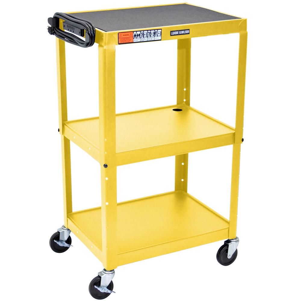 luxor avj42 yw yellow 3 shelf av utility cart 24 x 18 adjustable height - Rolling Utility Cart