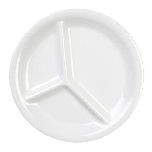 "10 1/4"" White 3-Compartment Melamine Plate - 12/Pack"