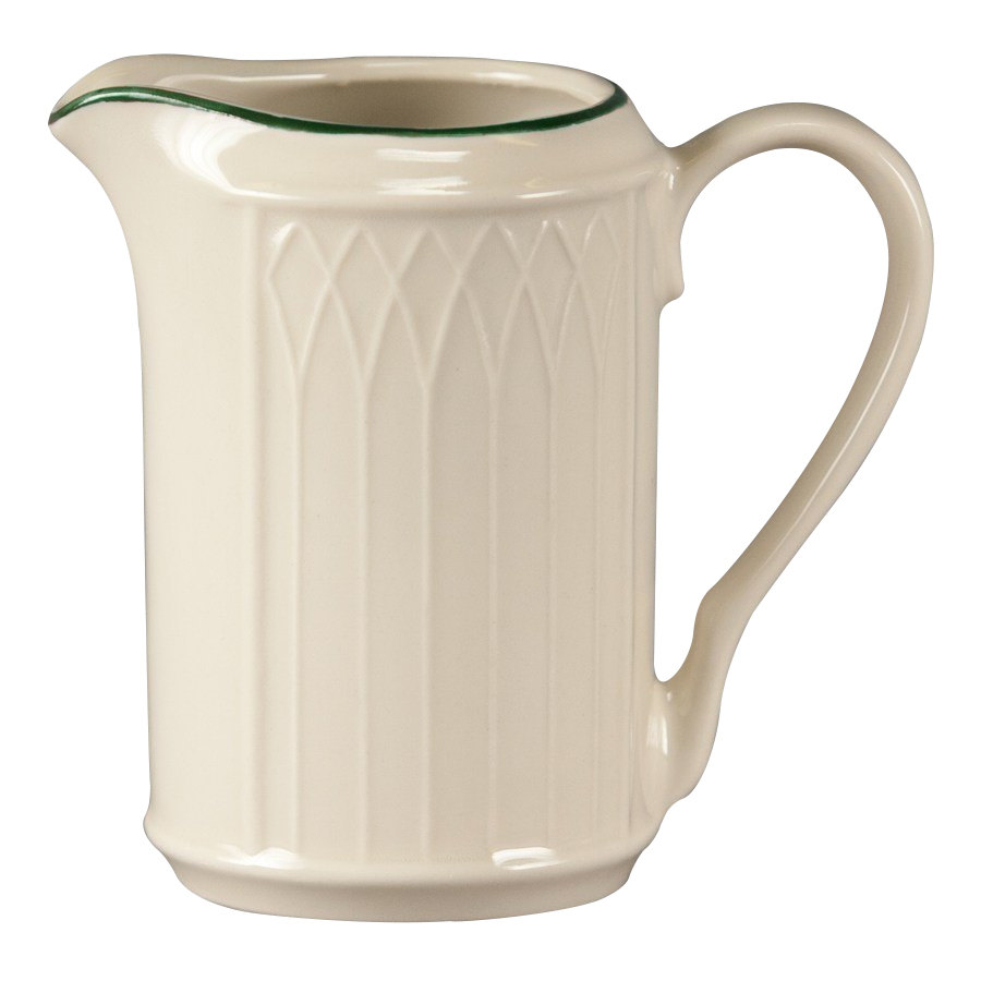 Homer Laughlin 1430-0042 Green Jade Gothic Off White 7.75 oz. Creamer - 36/Case