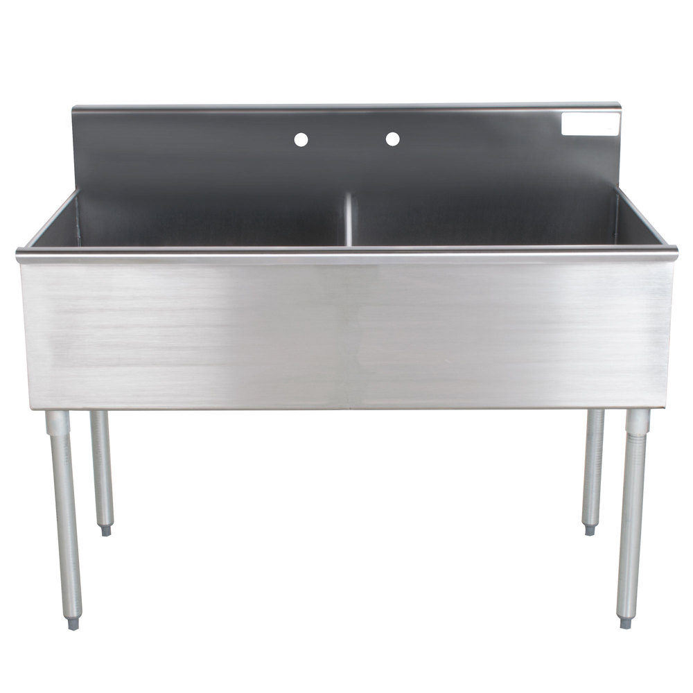 Advance Tabco 4-42-48 Two Compartment Stainless Steel Commercial Sink - 48""