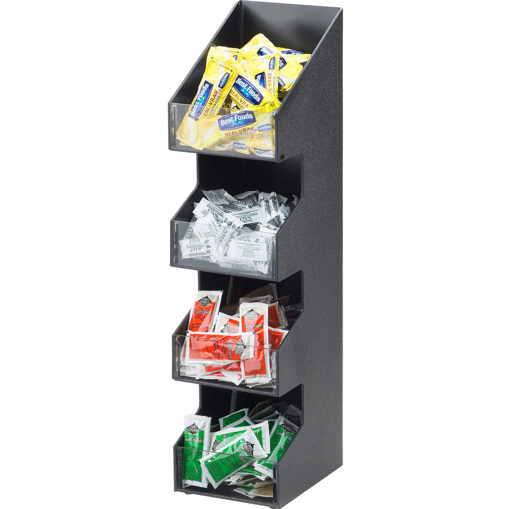 "Cal-Mil 1423 Classic Four Tier Black Condiment Display with Clear Bin Fronts - 5 1/4"" x 6 3/4"" x 21"""