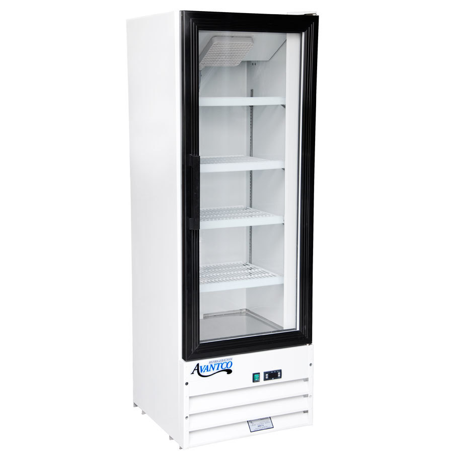 Avantco GDC10 21 inch Swing Glass Door White Merchandiser Refrigerator