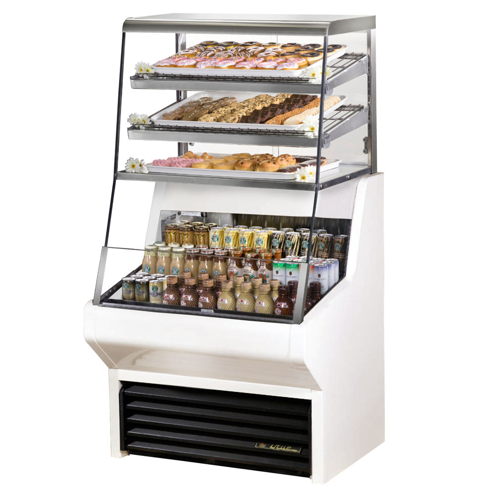 "True THAC-36DG-LD-WH 36"" White Refrigerated Horizontal Air Curtain Merchandiser with Five Shelves - 8.8 Cu. Ft."