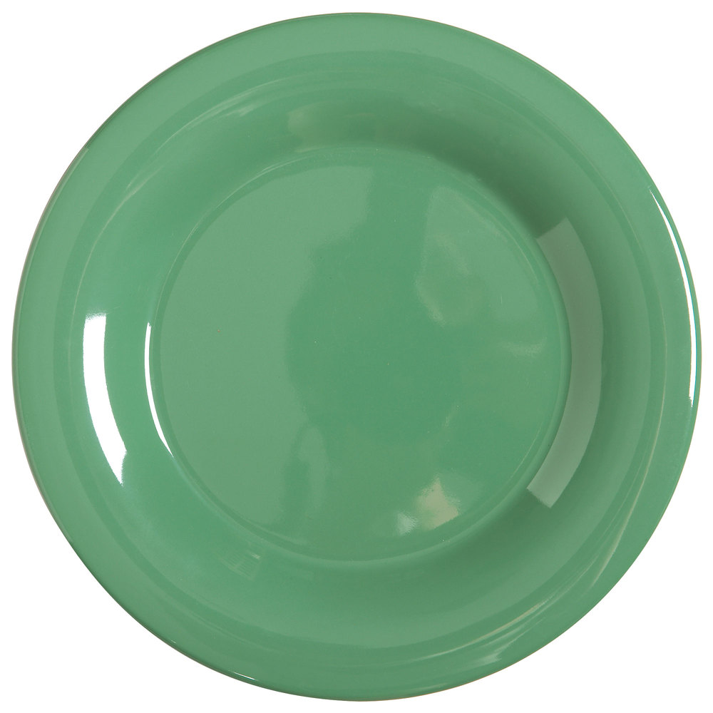 "GET WP-10-FG Diamond Mardi Gras 10 1/2"" Rainforest Green Wide Rim Round Melamine Plate - 12/Case"