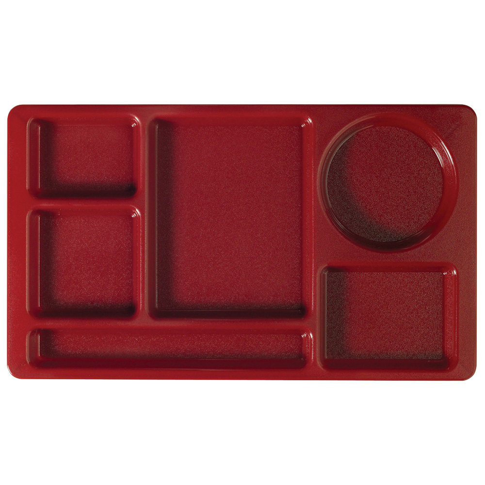 "Cambro 915CW416 Camwear (2 x 2) 8 3/4"" x 15"" Cranberry Six Compartment Serving Tray - 24/Case"