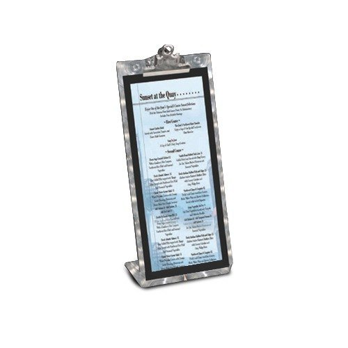"Menu Solutions MTCL-B Aluminum Menu Tent with Clip - Brushed Finish - 5"" x 7"""