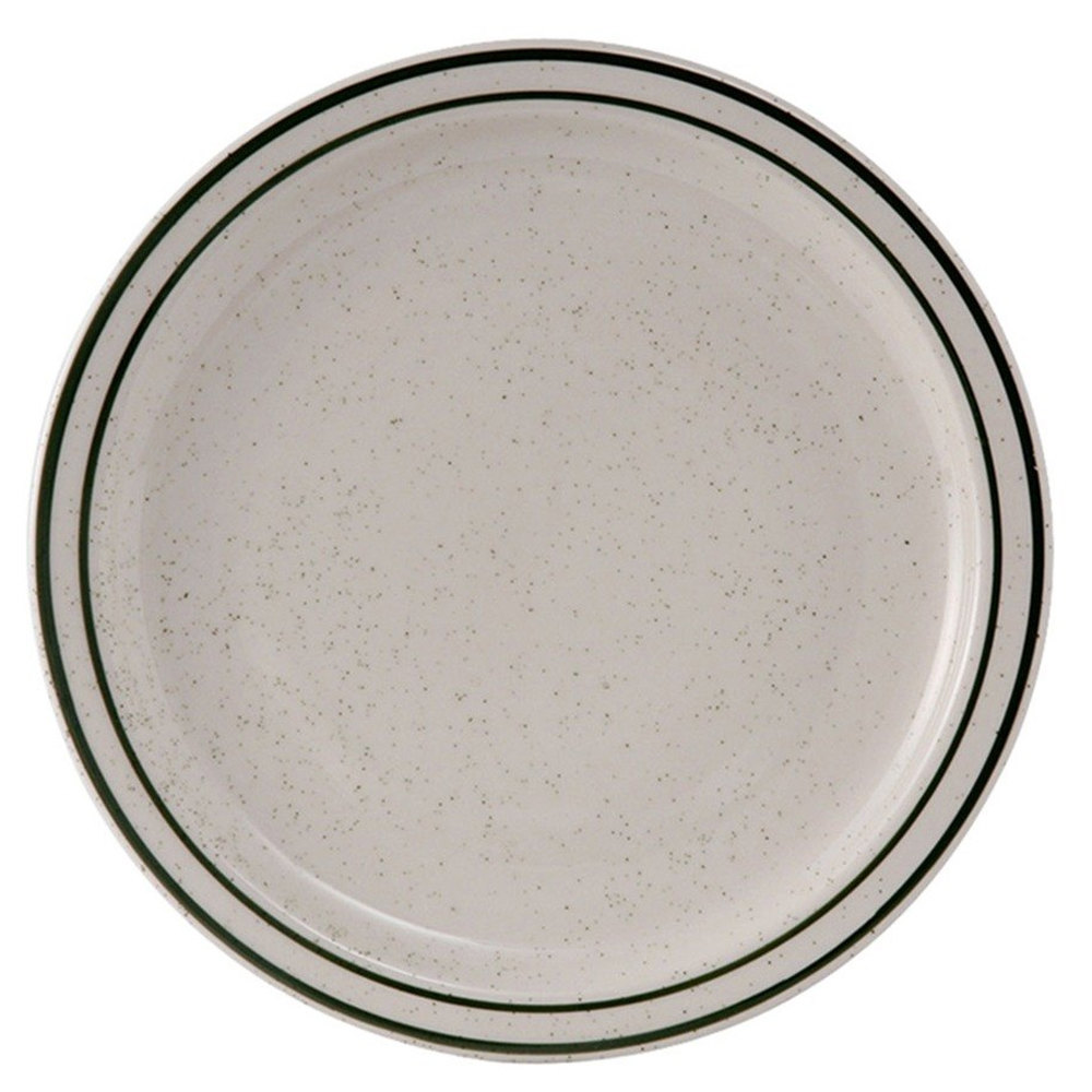 "Tuxton TES-016 Emerald 10 1/2"" Green Speckle Narrow Rim China Plate - 12/Case"