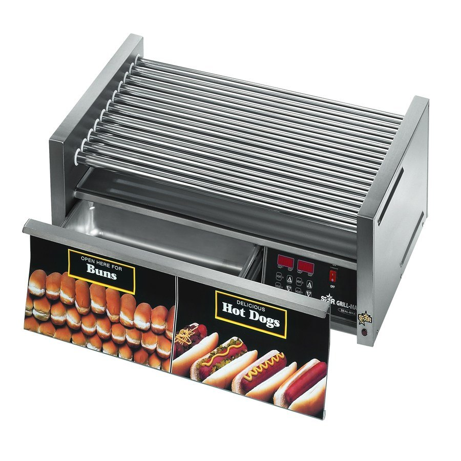Star Grill Max 30CBDE 30 Hot Dog Roller Grill with Bun Drawer, Electronic Controls and Chrome Plated Rollers at Sears.com
