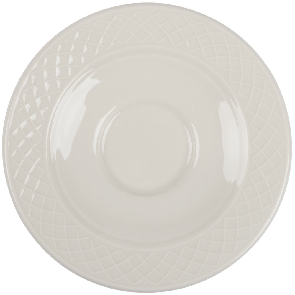 "Homer Laughlin 3287000 Gothic 4 1/2"" Ivory (American White) Undecorated China Saucer - 36/Case"