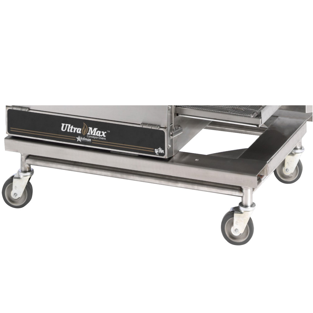 Star Ultra Max ES-UM1854L Low Profile Equipment Stand with Undershelf for 3 Stacked Star Ultra Max UM1854 Conveyor Ovens