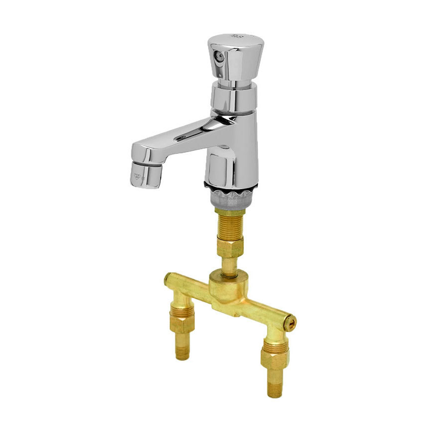T S B 2490 Deck Mounted Single Temperature Metering Faucet With Flex Inlets 4 Rigid Nozzle