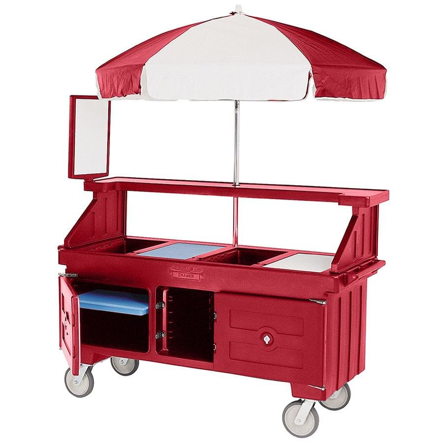 Cambro Camcruiser CVC72158 Hot Red Vending Cart with Umbrella and 3 Counter Wells