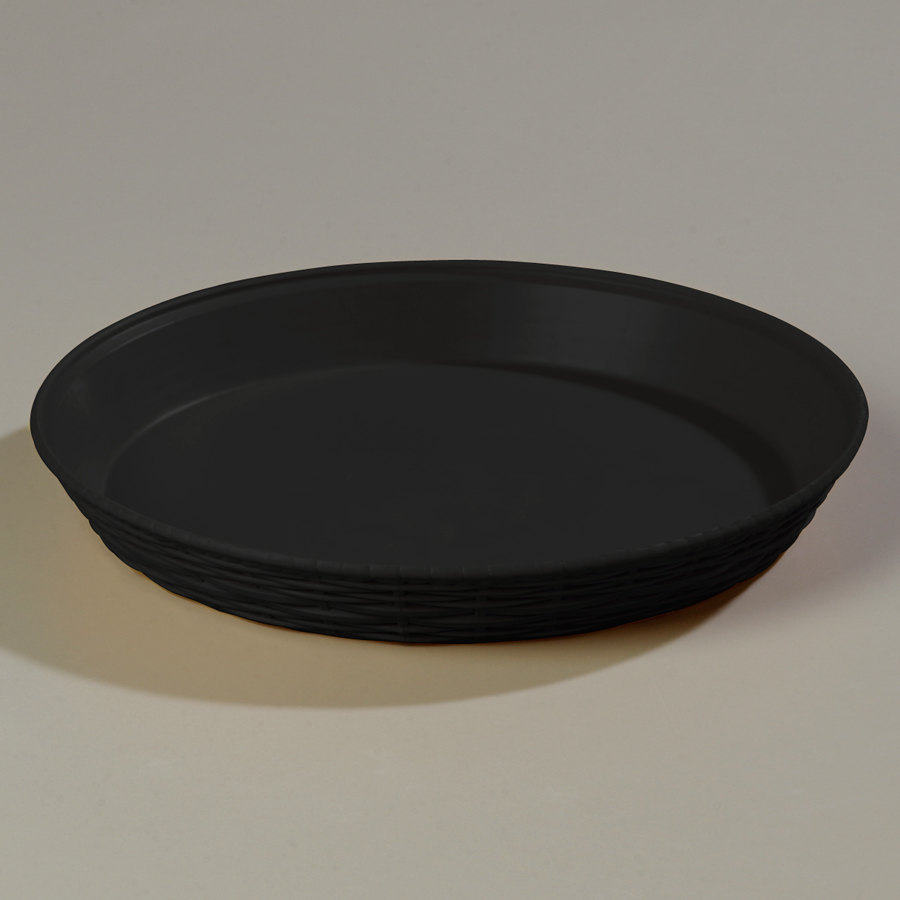 "Carlisle 652603 WeaveWear Black Round Plastic Serving Basket 12"" 1.8 Qt. 12 / Case"