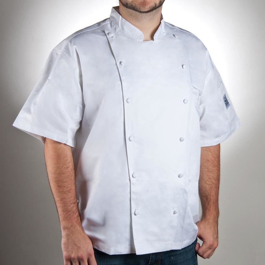 Chef Revival J057-S Size 36 (S) White Customizable Cuisinier Short Sleeve Chef Jacket - 100% Luxury Cotton
